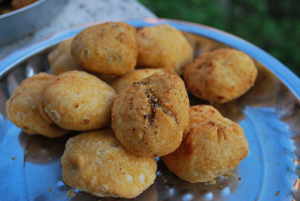 A savory snack called Kachoris, a very common street food in India