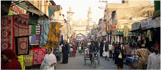 The colorful Laad Bazaar in Hyderabad, Andhra Pradesh
