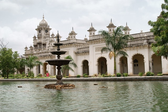 The exquisite exterior of the Chowmahalla Palace in Hyderabad, Andhra Pradesh