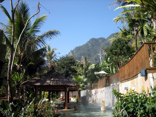 A Balinese spa with a natural spa bath