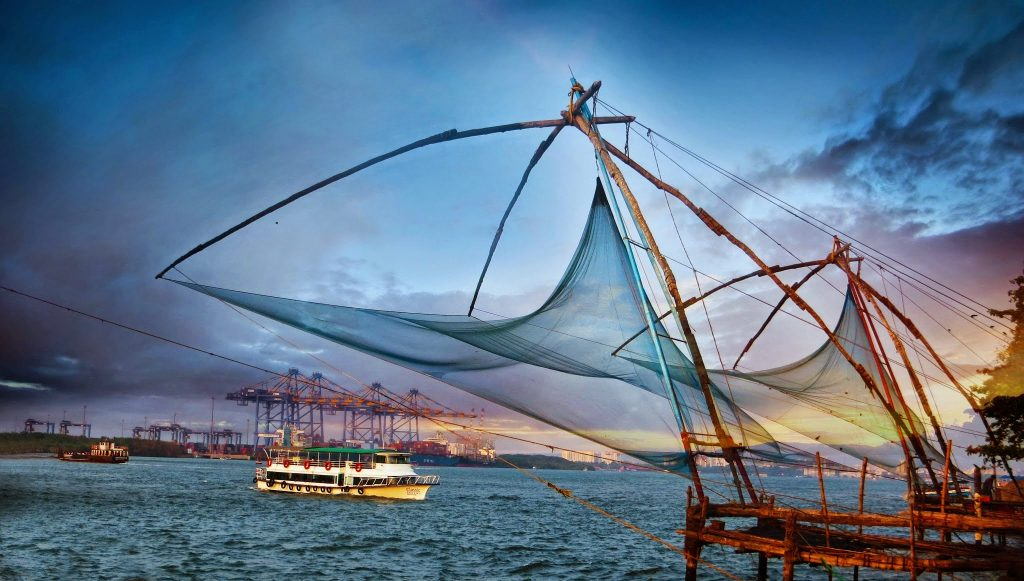 Fort Kochi in the evening dusk on the coast of Kerala