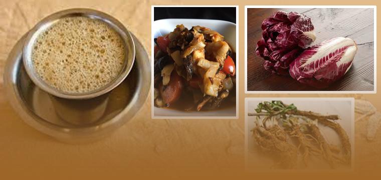 chicory, stir fry, salad, potatoes