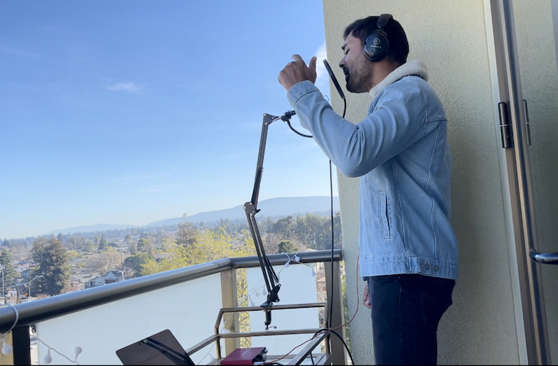 Artist, CoMo, recording music.