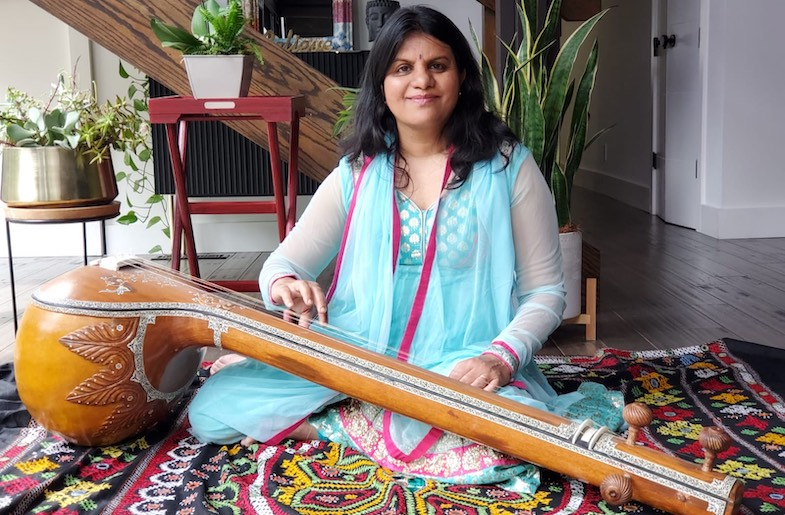 Author, Lakshmi Rao with her tanpura(Image by Jigna Desai)