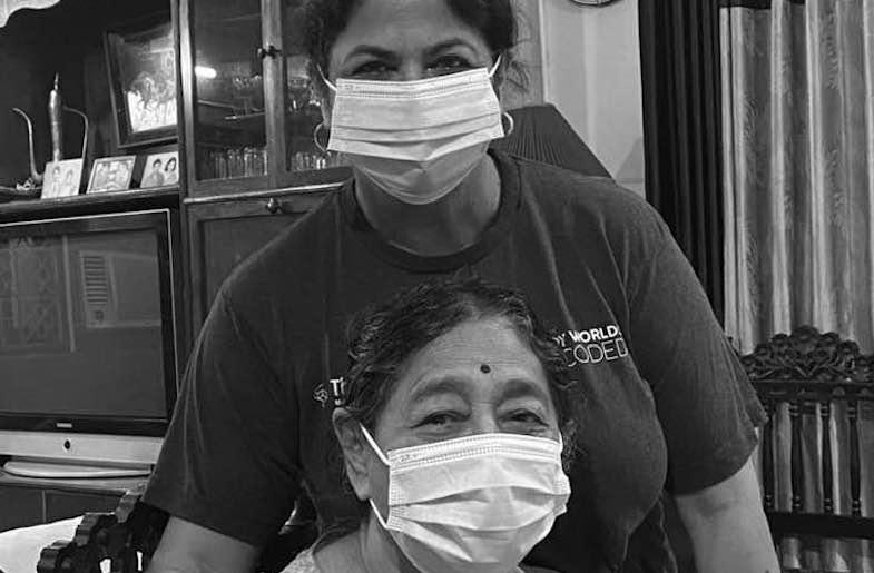 India Currents' Publisher, Vandana Kumar with her mother in India (Image by Vandana Kumar)