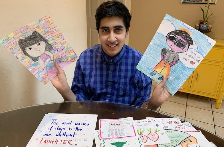 Arnav Mishra with cards for seniors (Image provided by Arnav Mishra)