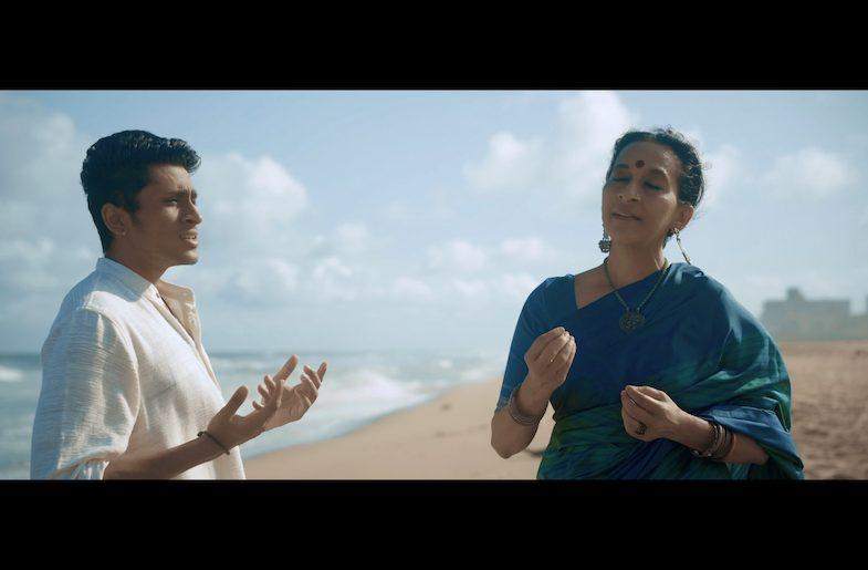 Left to Right: Artists in 'Rivers of India' video, Amrit Ramnath and Bombay Jayashri. (Image provided by Kanniks Kannikeswaran)