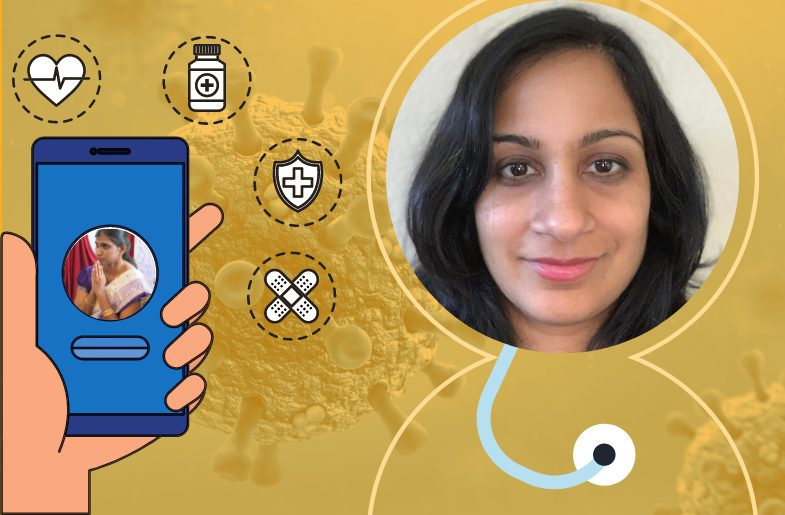 Dr. Maya Nambisan providing Telehealth services to patients in India.
