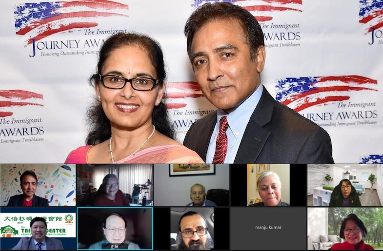 Top: Raj & Anna Asava. Bottom: HungerMitao Founders, Taiwan Center Foundation of LA, and HTHF on a zoom call.