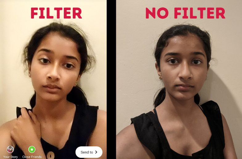 Medha Sarkar with and without Snapchat filter.
