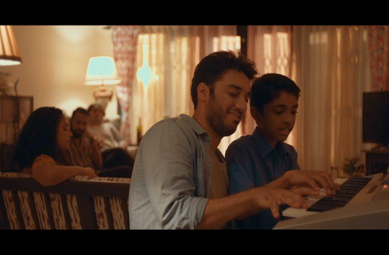 Film still from Freddie's Piano featuring Aakash Prabhakar (left) and Pranav Mylarassu (right).