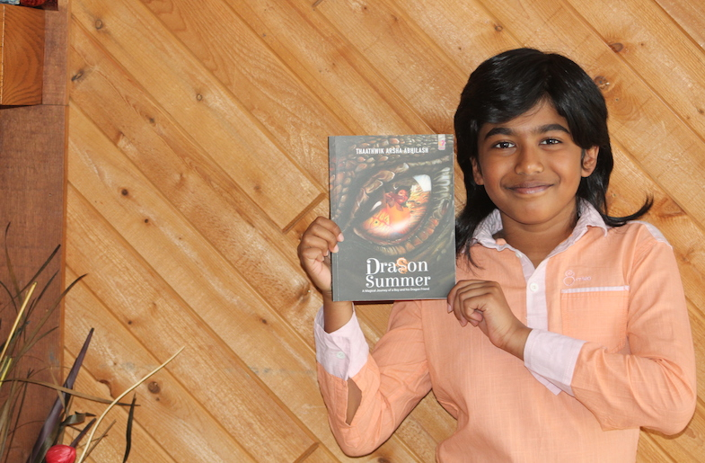 Thaathwik Arsha Abhilash with this book 'Dragon Summer: A Magical Journey of a Boy and his Dragon Friend'