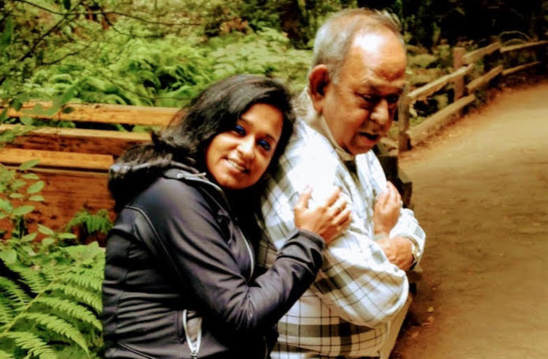 Author Prerona Mukherjee with her father.