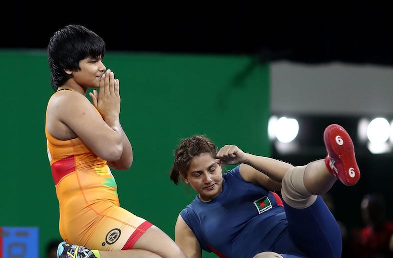 Divya Kakran (21) could be one of the stars of wrestling in the coming decade. (Image from Olympics.com)